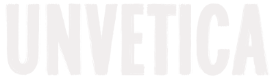The official Unvetica logo using Real World typeface in the color white
